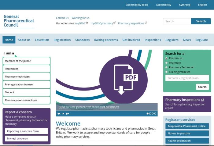 GPhC Screenshot